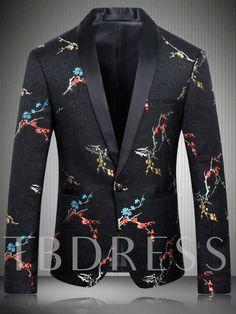 Men Slim Fit Floral Blazer New Arrivals Shawl Collar Men Black Printed Blazer Designs Stage Costumes For Singers Blazers For Men Casual, Casual Suit, Casual Blazer, Men Blazer, Blazer Jacket, Costumes Slim, Mens Floral Blazer, Black Fitted Blazer, Black Blazers