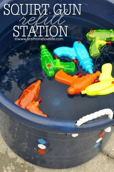 Brilliant kids Summer fun tip: A squirt gun refill station! @firsthomelove kids children Summer
