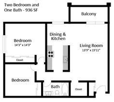 2br 1ba floorplan