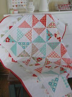 Baby Quilt - Moda Vintage Modern - Patchwork Quilt - Baby Blanket - Modern Baby Quilt - Quilted Blanket. $165.00, via Etsy.