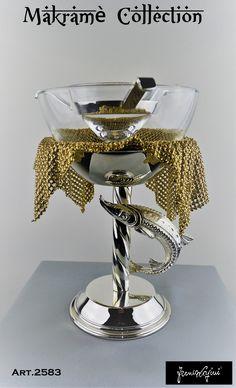 Caviar Set , Makramè Collection m silver and gold plate metal , sturgeon decoration Sturgeon Fish, Kitchen Family Rooms, Caviar