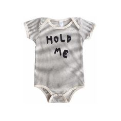 HOLD ME ONESIE DLK DESIGN LIFE KIDS ($30) ❤ liked on Polyvore featuring baby, baby boy and kids clothes
