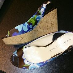 "HP Flowered Wedges  HP  It Girl  8/2/15 Dark brown, blue, green, purple, pink & white wedges with buckle strap. Only worn a couple of times.  4"" heel 1"" platform Marc Fisher Shoes Wedges"
