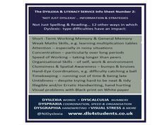 'Not just Reading and Spelling...' information sheet with more features of dyslexia and dyspraxia.