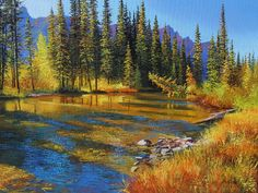 Original Nature Art by Andrew Kiss Landscape Paintings, Landscapes, Acrilic Paintings, Rios, Country Art, Canadian Artists, Native American Art, Various Artists, Art Reference