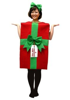 We've got a present for you. It's wrapped in red paper and tied with a green bow. What's inside? YOU! Give him the greatest gift of all...you! Slip into this Present Costume and make his holiday jolly!