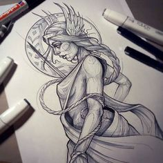 "Here's a beautiful #freya #goddess #sketch from @rockin.rabbit who creates all sorts of magically ethereal #tattoos and #drawings , and we are so happy to include her work in our ""Enchanted"" book, which features 336 pages of fairy tale, folktale, fables, and mythology inspired artwork of many mediums. ""Enchanted"" is currently ON SALE too...so get one while you can at www.OOSBooks.com"