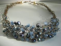 Lusterous blue pearls and crystal on copper wire...$150 inspiration