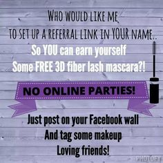 I am looking for hostesses for referral links and online parties!!! Click here to set yours up to earn some free and half price mascara and Younique products!!! https://www.youniqueproducts.com/SavannahBall