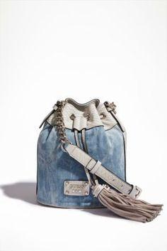 Denim Sky Drawstring Bag | GUESS.com