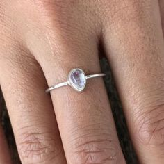 The sweetest little sterling silver moonstone ring you ever did see. Say hello to our beloved Moon Drop ring. Description Handmade Sterling silver and A+ tear shaped moonstone. Moonstone Ring, Stacking Rings, Stone Rings, 18k Gold, Heart Ring, Drop, Band, Sterling Silver, Jewellery