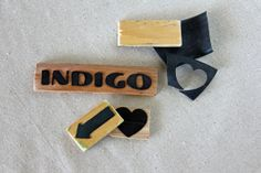 Recycled bicycle tire stamps DIY (don't forget to make a mirror image of the words you want to stamp! :))