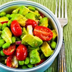 tomato, avocado, edamame, red onion salad with cumin lime vinaigrette