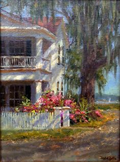 """Coastal Cottage"" oil on panel by Mitch Billis. Available through Martin Gallery. Montana State University, Classical Realism, School Of Engineering, Oil Painters, Coastal Cottage, Landscape Lighting, New Adventures, Outdoor Activities, Impressionist"