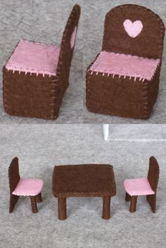Felt dollhouse, chair and table Felt Patterns, Stuffed Toys Patterns, Felt Diy, Felt Crafts, Sewing For Kids, Diy For Kids, Felt Doll House, Carton Diy, Felt Games