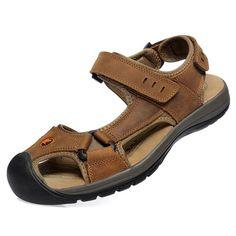 Sale 10% (34.59$) - Leisure Casual Mens Leather Beach Sandal Slipper Shoes