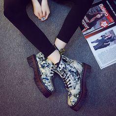 Fan Europa en las botas de otoño e invierno de mujeres con botas de piel gruesa con botas de Martin botas individuales retro estilo británico femenino