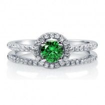 Emerald CZ 925 Sterling Silver 2-Pc Halo Wedding Ring Set 0.46 Ct