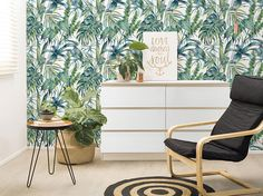 Palm Monstera leaf Wallpaper, Removable Wallpaper, Self-adhesive Wallpaper, Palm Leaves, Tropical Wa Pineapple Wallpaper, Palm Wallpaper, Tropical Wallpaper, Temporary Wallpaper, Fabric Wallpaper, Peel And Stick Wallpaper, Tropical Wall Decor, Tropical Bathroom, Tropical Design