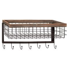 You'll love the Modern 4 Hook Wall Rack with Basket at Wayfair - Great Deals on all Furniture  products with Free Shipping on most stuff, even the big stuff.