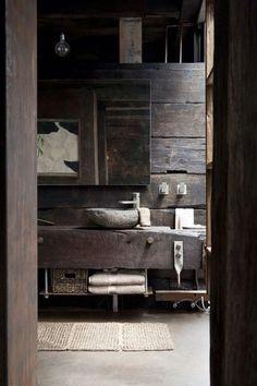 Very rustic bathroom