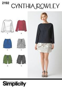 Simplicity pattern 2192: Misses' Sportswear. Cynthia Rowley Collection top in two lengths, mini skirt and shorts