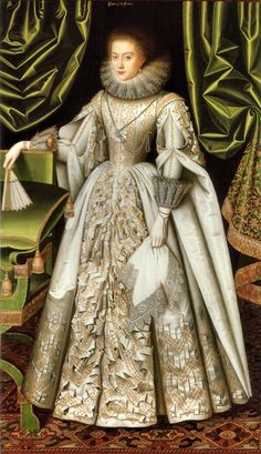 William Larkin (1580-1619) —   Portrait of Diana Cecil, L ater Countess of Oxford,  c.1614 : Suffolk Collection, Kenwood House,  London. UK (807x1400)