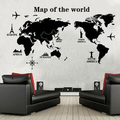 World Map Pattern Paste Movable Sticker for Kids Bedroom Living Room D – TYChome Playroom Decor, Room Decor Bedroom, Kids Bedroom, Living Room Decor, World Map Wall, Wall Maps, Vinyl Quotes, Art Quotes, Country Maps