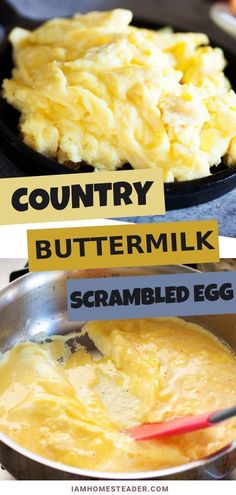 There is lots to love about these Country Buttermilk Scrambled Eggs. One of the fluffiest, creamiest scramble egg recipes you can make at home.