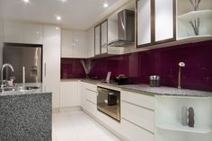 """Simple, sleek with a bold """"plum"""" splashback to really add the WOW factor to this kitchen - Kitchens Plus, Bathroom Renovation, Bundall, QLD, 4217 - TrueLocal"""