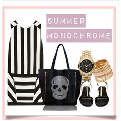 """""""Summer monochrome with skull bag"""" by prettyandwitty on Polyvore"""