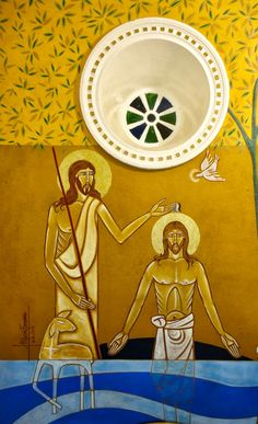 Holy Baptism; Theophany contemporary icon by Maria Fonseca of Brazil