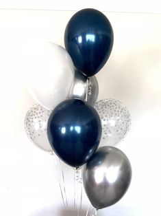 Navy Balloons Navy and Silver Balloons Navy and White Silver Party Decorations, Bridal Shower Decorations, Balloon Decorations, Birthday Decorations, Navy Bridal Shower, Bridal Shower Balloons, Blue Birthday Parties, Birthday Balloons, Navy Birthday