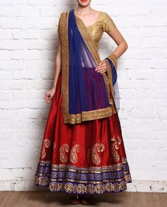 Red and Golden Lehnega with Blue Border   1. Red and golden dupion lehenga with…