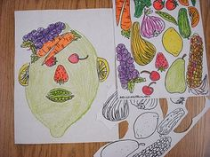 Giuseppe Arcimboldo - could also create with actual veggies and fruit idea from ARTASTIC! Miss Oetkens Artists Giuseppe Arcimboldo, Artists For Kids, Art For Kids, Portraits For Kids, Arte Elemental, 2nd Grade Art, Ecole Art, Art Curriculum, Art Lessons Elementary