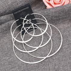 Hot Sale Silver Hoop Earrings Big Smooth Circle Earrings Set Brincos Celebrity Brand Hoop Earrings for Women Jewelry 3 Pairs/Set