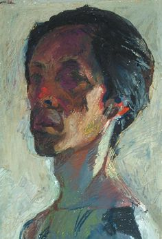 Self-portrait, oil pastel on thick Arches paper, signed on front by the artist Sasai