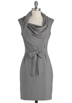 New Hire and Higher Dress in Slate - Mid-length, Solid, Work, Sheath / Shift, Sleeveless, Belted, Grey, Exclusives, Scholastic/Collegiate, Cowl, Variation
