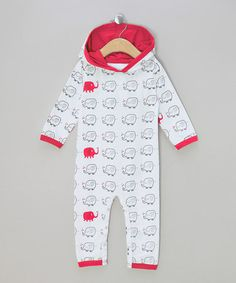 Love this White & Pink Elephant Organic Hooded Playsuit - Infant by Awerganic on #zulily! #zulilyfinds