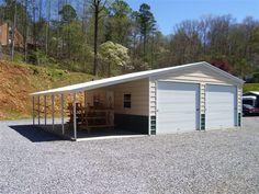 20 X 31 X 9 Vertical Roof W 12 X 31 X 6 Lean To Metal Garage Buildings Metal Buildings Metal Garages