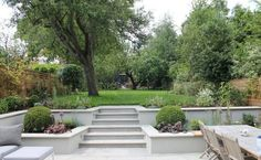 Summer Orchard Garden beds on a slope retaining walls Garden Stairs, Terrace Garden, Garden Beds, Sunken Garden, Sunken Patio, Garden Walls, Balcony Gardening, Garden Canopy, Walled Garden