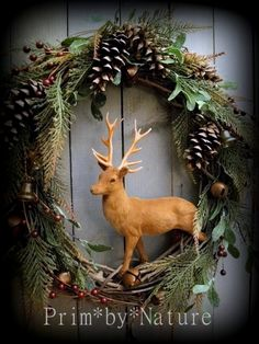 Primitive Christmas Wreath Vintage Flocked Reindeer Rustic Holiday Door Wreath in Antiques, Primitives Woodland Christmas, Primitive Christmas, Christmas Toys, Country Christmas, Vintage Christmas, Christmas Holidays, Christmas Ornaments, Holiday Door Wreaths, Fall Wreaths