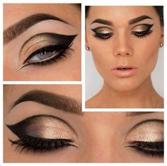 Gorgeous sharp & edgy black & gold eye makeup with big bold brows to finish off the look.... Stunning!