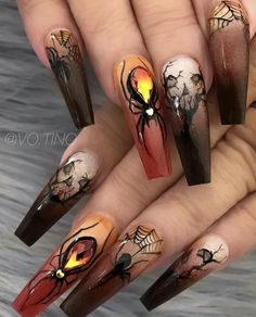 Nail art Christmas - the festive spirit on the nails. Over 70 creative ideas and tutorials - My Nails Halloween Nail Designs, Halloween Nail Art, Cool Nail Designs, Halloween Halloween, Skull Nail Designs, Skull Nail Art, Skull Nails, Halloween Parties, Halloween Movies