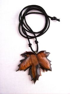 Leaf Pendant Wooden Pendant Leaf Necklace Wood by GatewayAlpha