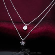 Solid 925 Sterling Silver Multi-Layers Clear White CZ Star &Round Double Rows Necklace Pendant GTLX448