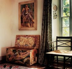 Maynard Keynes's bedroom at Charleston. Chest: D Grant Rush seated settle: C Bell from M Hutchinson