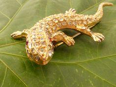 1940s Coro Lizard Gecko Figural Rhinestone Brooch by GliterzbySal