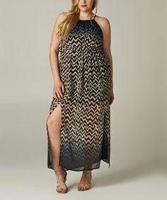 Black & Taupe Zigzag Empire-Waist Halter Dress - Plus by Tua Plus #zulily #zulilyfinds