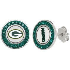 Green Bay Packers Crystal Team Logo Stud Earrings ($60) ❤ liked on Polyvore featuring jewelry, earrings, green, green stud earrings, green earrings, crystal jewelry, stud earring set y kohl jewelry Stone Jewelry, Crystal Jewelry, Crystal Earrings, Stud Earrings, Packers Gear, Green Earrings, Green Bay Packers, Stones And Crystals, Team Logo